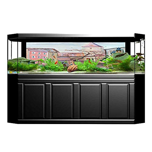 JiahongPan Fish Tank Decorations ed Effect Street with Paved Stones Rocks and Towers Rural Charm Art HD Fish Tank Decorations Sticker L29.5 x H19.6