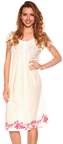 Floopi Womens Nightgown Sleepwear Cotton Pajamas Womans Cap Sleeve Sleep Dress Nightshirt (M, Pink-0074)