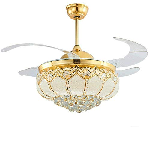 Lighting Groups 42 Inch Gold LED Modern European Crystal Ceiling Fan Lamp Living Room Bedroom Retractable Ceiling Fans With Lights Remote Control Chandelier Ceiling Light Fixture with Fans (Gold)