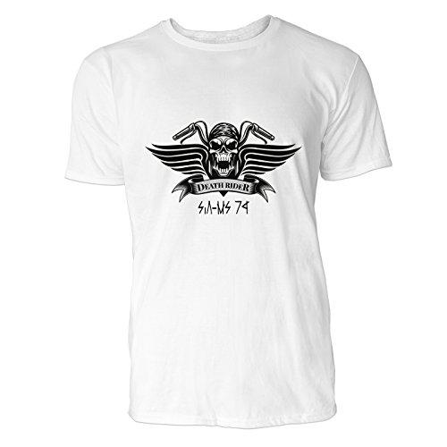 SINUS ART® Motor Racing mit Totenkopf Herren T-Shirts in Weiss Fun Shirt mit tollen Aufdruck