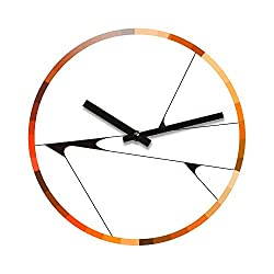 Refelx Non-Ticking Silent Acrylic Wall Clock, Large, Abstract Color Wheel, Warm/Black