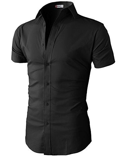 H2H Men Casual Slim Fit Short Sleeve Button Down Dress Shirts Black US L/Asia XL (KMTSTS0132)