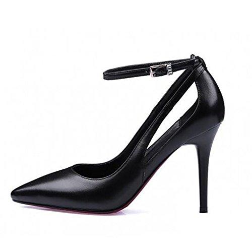 Sandalias Tacones Cuero Mujer Calzado Con Vacío Altos De Black Lado Baja Fina Punta Boca I4W7aq