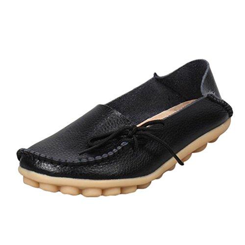 Heheja Mujer Mocasines de Cuero Loafers Casual Piso Zapatos Zapatillas con Bowknot Negro