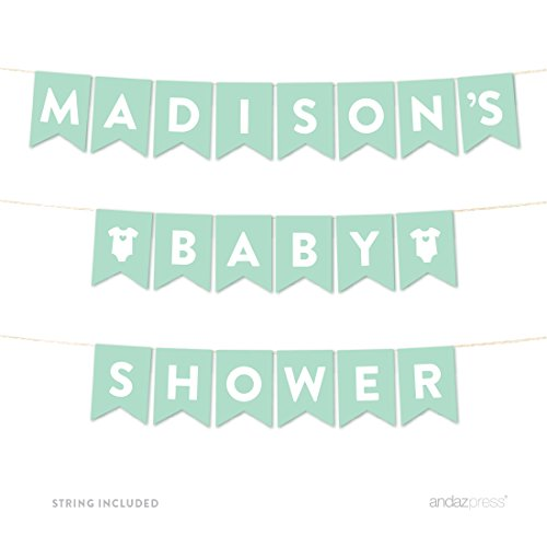 Andaz Press Personalized Gender Neutral Baby Shower Hanging Pennant Garland Party Banner with String, Mint Green, Madison's Baby Shower, 8-Feet, 1-Set, Custom Name - Custom Shower