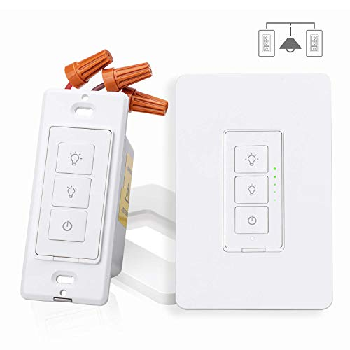 (Smart 3 Way Dimmer Switch Kit, Meross WiFi Dimmer Wall Switch for Dimmable LED Light, Halogen and Incandescent Bulb, Woks with Amazon Alexa, Google Assistant and IFTTT, Remote Control, Voice Control )
