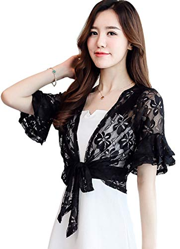 Itemnew Women's Lovely Bell Short Sleeve Tie Front Floral Lace Sheer Shrug Cardigan Tops (Large, - Shrug Embroidered