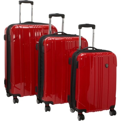 Traveler's Choice Sedona 3-Piece Hardside Spinner Set (Red), Bags Central