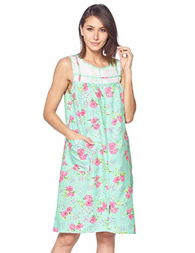 Casual Nights Women's Zipper Front House Dress Duster Sleeveless Housecoat Lounger Robe, Floral Mint, Small (Sleeveless Muumuu)