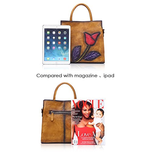 Handbags Ladies Totes 8171 Soft APHISON Bags Satchels Women For Brown Designer Shoulder Leather A1xwq0IB