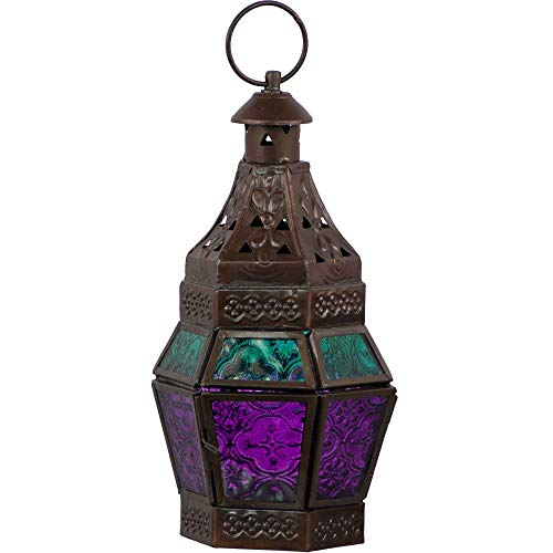 4Rissa Turquoise & Purple Moroccan Style Lantern Metal & Glass Candle Holder Hanging Decor Wedding Party Decorations