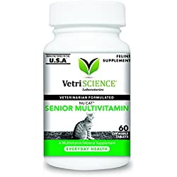 VetriScience Laboratories Nu Cat Senior Multivitamin 60 Chewable Tablet for Cats