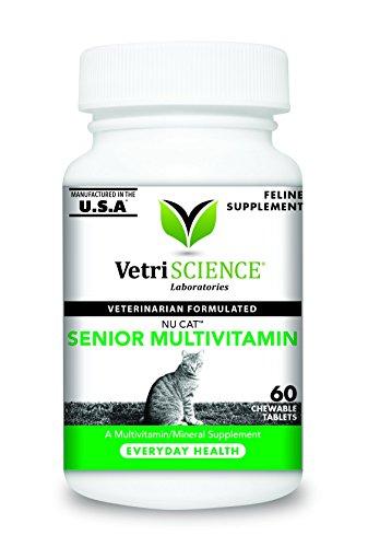 VetriScience Laboratories NuCat Senior Multi Vitamin for Cats, 60 Chewable Tablets