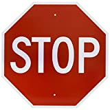 "NMC TM81H Traffic Sign,""STOP"", 30"" Width x 30"" Height, Aluminum, Red On White"