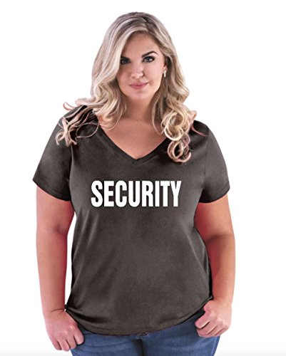 Mom's Favorite Novelty T-Shirt Security Event Employee Uniform Costume Party Event Women's Curvy Plus Size V-Neck -