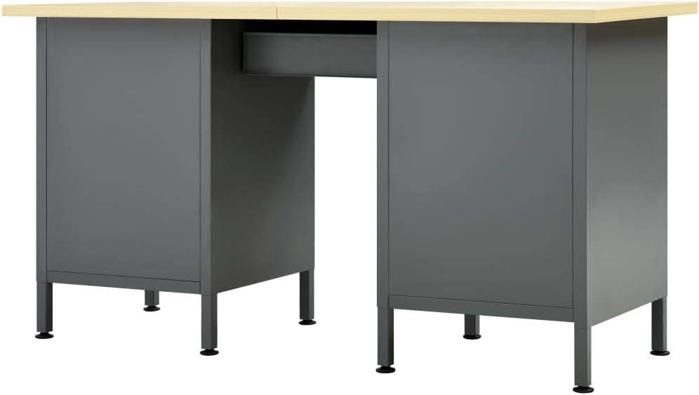 vidaXL Etabli Table de Travail Bricolage Etabli dAtelier Plan de Travail Bureau Maison Int/érieur Durable Rubuste Noir 160x60x85 cm Acier