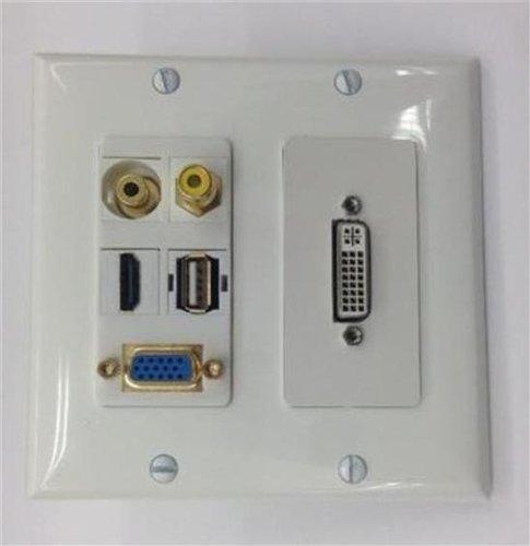 CUSTOM WHITE DVI + SVGA VGA + HDMI + 3.5mm STEREO AUDIO + RCA VIDEO + USB WALL PLATE