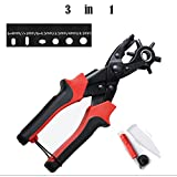 Leather Hole Punch Tool, ProttyLife Heavy Duty Belt Puncher Plier Easily Punches Fabric Saddle Leather Belt Cardboard Paper Epaulettes Rigid PVC