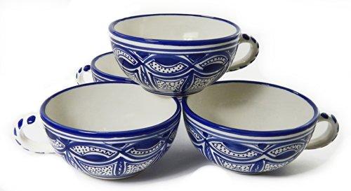Le Souk Ceramique Qamara Design Latte/Soup Mugs, Set of 4