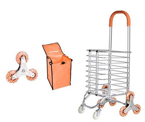 LUCKYYAN Lightweight Portable Foldable Aluminum alloy 8 Wheel Bold Shopping Trolley - Silent Orange Crystal Wheel by LUCKYYYAN