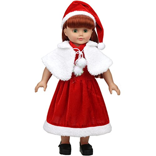 BQVIVYI New and Hot Doll's Christmas Outfit(Hat,Dress,Dress Smock for 14-18 inches American Dolls Clothes/Suits/Dresses ()