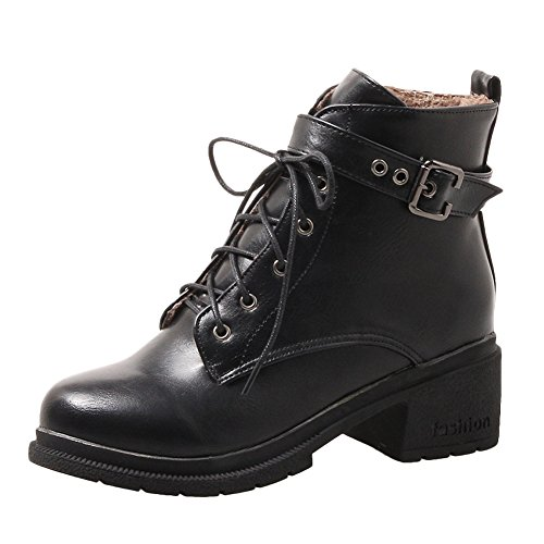 Latasa Womens Buckle and Strap Lace-up Chunky Oxford Boots Black AAJZw