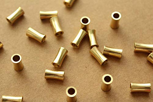 - 30 pc. Raw Brass Tapered Column Beads, 9mm by 4.5mm