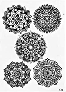 74500aae5 Temporary Tattoos, Realistic, Transfer, Sticker, Mandala, Set of 5, Rose,  Lotus Flower, Henna,…