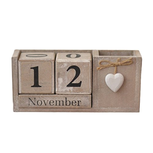 LANGUGU Shabby Chic Vintage Creative Pen and Pencil Holder Storage Box Wooden Cubes Perpetual Desk Calendar Decoration Home Office Furnishing DIY Yearly Planner Calendar Shops Ornaments - Calendars Shop Desk