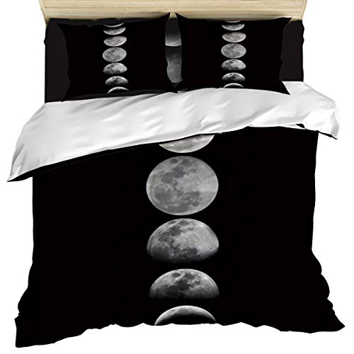 Luxury 4 Piece Bedding Set Full Size, The Process of Full Moon to Crescent Duvet/Comforter/Quilt Cover Set with Bed Sheet Pillow Shams for Kids/Teens/Adults/School