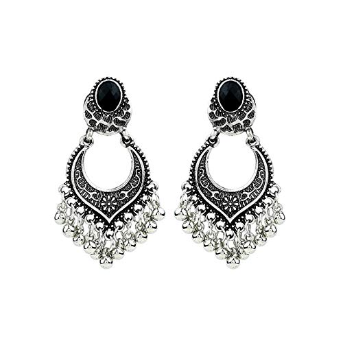 2019 NEW FASHION Indian Bollywood Jewelry Gold Wedding Wear Traditional Polki Earrings daily party,Silver ()