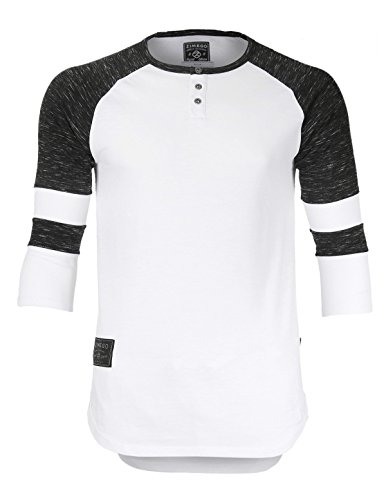 ZIMEGO Men's 3/4 Sleeve Baseball Football College Raglan Henley Athletic TShirt, White Black, XXLarge,White - 3/4 Sleeve Football