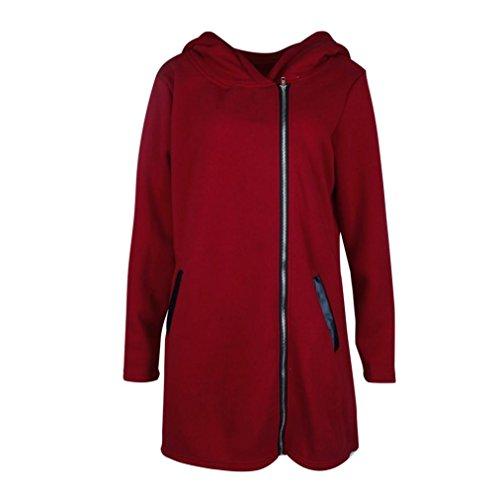 Cremallera OtoñO Invierno Parka De Capucha Invierno QinMM con Vino Abrigo De Outwear Chaqueta rojo Mujer SóLida x0wR8q7zn