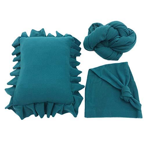 Yinpinxinmao 3Pcs/Set Newborn Photography Props Infant Pillow Wrap Blanket Knotted Beanie Cap Peacock Blue ()