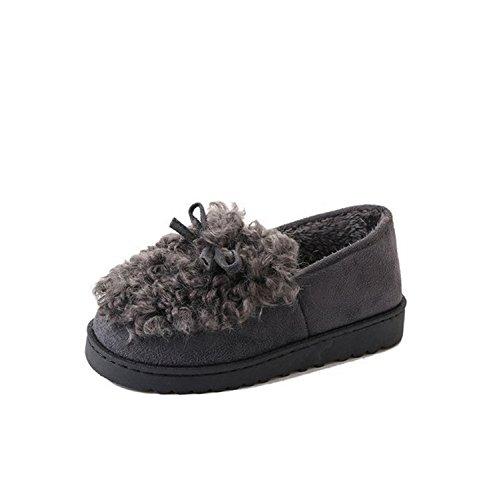 DANDANJIE Otoño e Invierno Zapatillas algodón cálido Cerrado Espalda Zapatos Inicio Mujer Zapatillas y Chancletas (Rojo Negro Gris) Zapatos caseros Gris