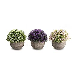 Opps Mini Artificial Plants Plastic Fake Green Colorful Flower Topiary Shrubs with Gray Pot for Home Décor - Set of 3