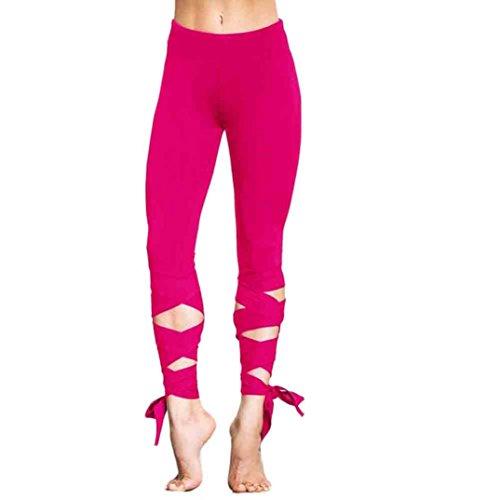 HARRYSTORE Mujer Pantalones yoga Mujer secado rápido de salto Yoga Tie-up  pantalones Mujer Deportes 23fb184b45fad