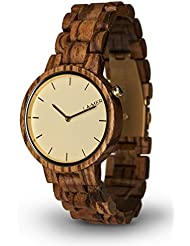 LAiMER Womens Wooden Watch MELANIE - Wrist Watch made of natural Zebrano Wood - Simple Elegance, Nature & Lifestyle