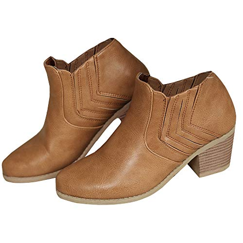 (Huiyuzhi Womens Vintage Pointy Toe Ankle Booties Chunky Stacked Heel)