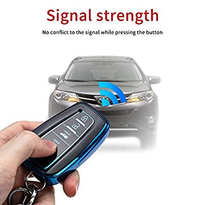 121Fruit Way for Toyota Key Fob Cover Premium Soft TPU 360 Degree Protection Key Case Compatible with 2020 2020 2020 Toyota Camry RAV4 Avalon C-HR Prius Corolla Smart Key(only for Keyless go)-Blue: Automotive