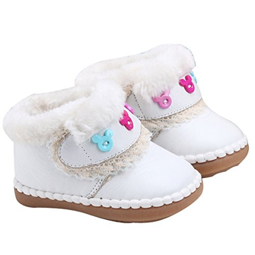 Infant Toddler Baby Girl Soft Sole Leather Shoes Moccasins Slip-on Shoes 18 - White