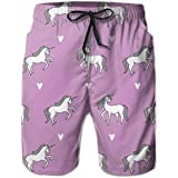PTYHR Swimwear for Men & Teens, Casual Sports Beach Shorts, Little Girls Unicorn Running Shorts, Pockets Swim Trunks, Elastic Waist Drawstring Beach Suits