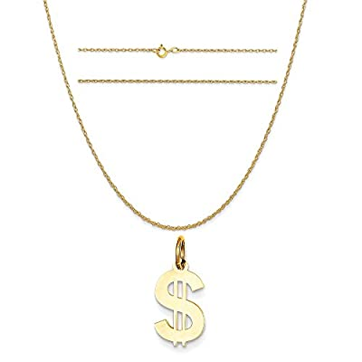 14k Yellow Gold Polished Dollar Sign Charm on 14K Yellow Gold Carded Rope Chain Necklace from Q.G.