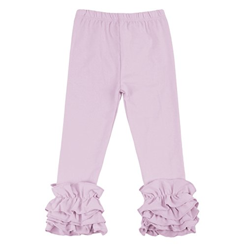 IBTOM CASTLE Little Girl's Double Icing Ruffle Leggings Toddler Girl Triple Cotton Boutique Elastic Waist Slacks Joggers Activewear Lavender 2t - Purple Icing Lavender