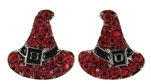 Witch's Hats Rhinestone Stud Earrings with Red Crystals and Black Enamel
