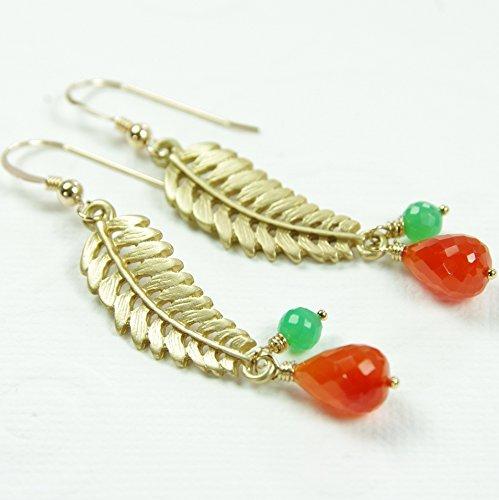 Carnelian Chrysoprase Earrings Gold Filled Semi Precious Gemstone Brass Leaf Dangle Orange (Green Precious Stone)