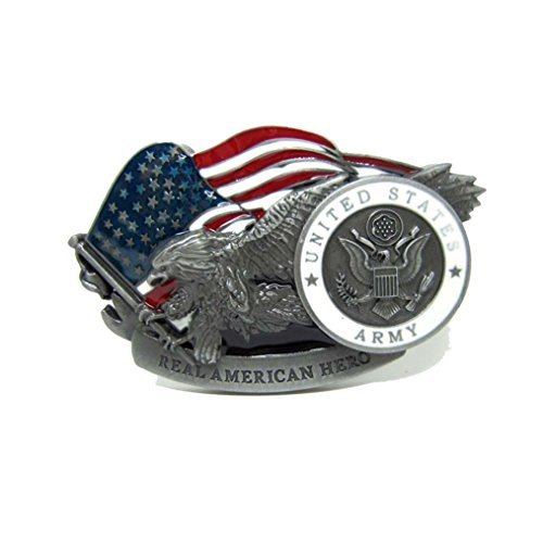 MASOP American United States Army Military Belt Buckle Metal Eagle Flag Belt ()