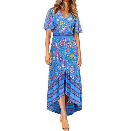 - Sprifloral Casual Button Up Flower Deep V Neck Ruched Elegant Boho Flowy Dress Royal Blue L