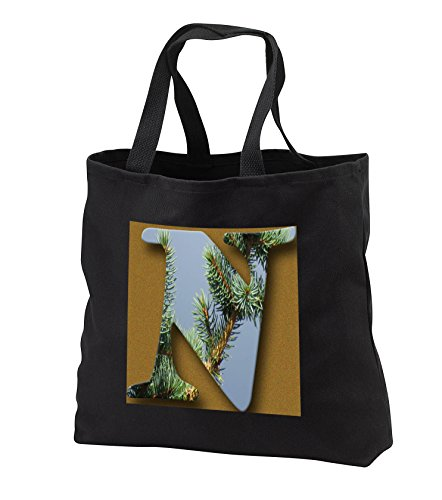 Jos Fauxtographee- Alphabet N - The capital letter N cut out of a pine tree on gold - Tote Bags - Black Tote Bag JUMBO 20w x 15h x 5d (tb_284142_3)