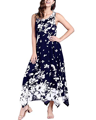 BBYES Women's Floral Print Round Neck Sleeveless Long Maxi Casual Beach Holiday Party Dress with Pockets Navy XL